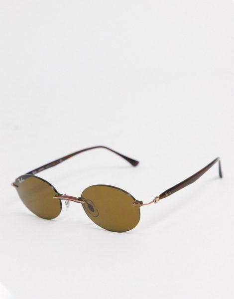 Rayban - Ovale Sonnenbrille in Braun ohne Rahmen
