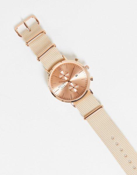 Reclaimed Vintage - Uhr im Chronographenstil mit Wechselarmbändern aus Leder und Canvas-Mehrfarbig