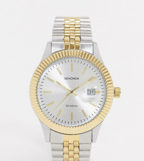Sekonda - Armbanduhr aus Metallmix - Exklusiv nur bei ASOS-Silber