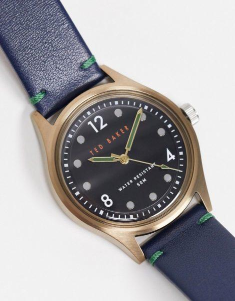 Ted Baker - Armbanduhr aus Edelstahl und Leder-Blau