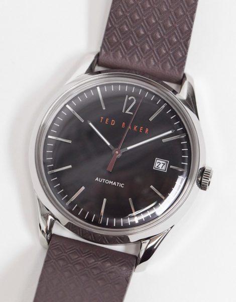 Ted Baker - Uhr aus Edelstahl mit Lederarmband-Braun