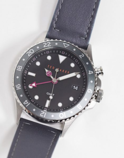 Ted Baker - Uhr aus Edelstahl mit Lederarmband-Grau