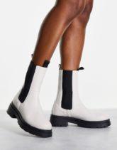 Topshop - Kylie - Chelsea-Stiefel in gebrochenem Weiß mit dicker Sohle
