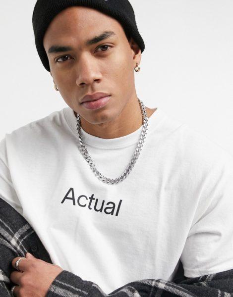 ASOS - Actual - T-Shirt in Weiß mit Logoaufdruck vorne