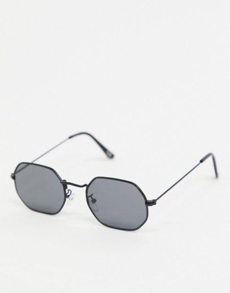 ASOS DESIGN - Angeschrägte Sonnenbrille in Schwarzmetall mit rauchig getönten Gläsern
