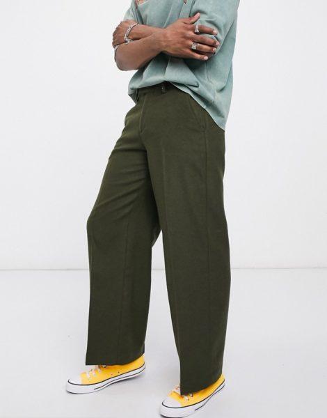 ASOS DESIGN - Elegante Hose aus Wollmischung in Khaki mit sehr weitem Bein-Grün