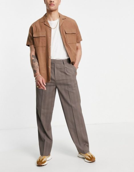 ASOS DESIGN - Elegante Hose mit weitem Bein und Prince of Wales Karomuster-Braun