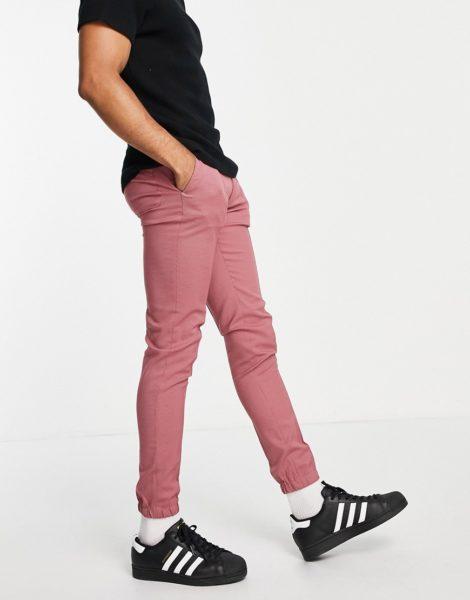 ASOS DESIGN - Elegante, eng geschnittene Hose in Rosa mit kleinem Hahnentrittmuster und Bündchen im Jogginshosen-Stil, Kombiteil