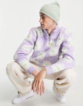 ASOS DESIGN - Flauschiger Pullover mit halbem Reißverschluss und Blumenmuster in Flieder-Violett