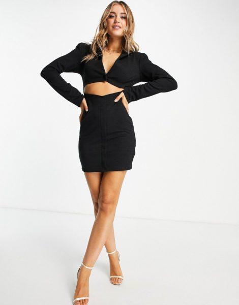 ASOS DESIGN - Kastiges Blazer-Kleid mit Leinenoptik und Zierausschnitt in Schwarz