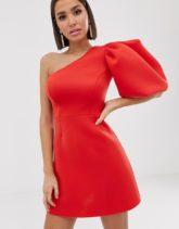 ASOS DESIGN - Mini-Skaterkleid mit Puffärmeln und One-Shoulder-Kleid-Rot