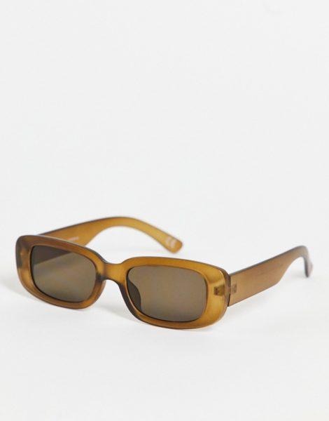 ASOS DESIGN - Mittelgroße, rechteckige Sonnenbrille in Braun mit hellbraunen Gläsern