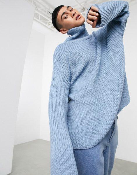 ASOS DESIGN - Oversize-Pullover in Blau mit Stehkragen