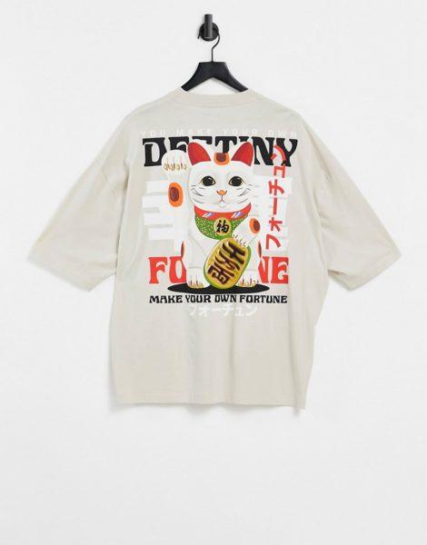 ASOS DESIGN - Oversized T-Shirt aus Bio-Baumwolle in Beige mit lustigem Katzen-Print am Rücken-Neutral