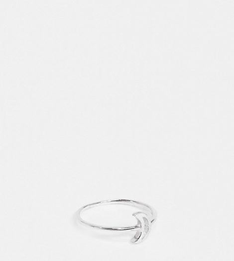 ASOS DESIGN - Ring aus Sterlingsilber mit Monddesign