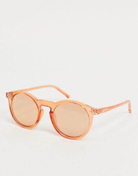 ASOS DESIGN - Runde Sonnenbrille aus Kunststoff in Orange