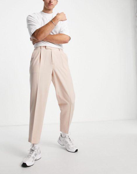 ASOS DESIGN - Schmal zulaufende, elegante Oversize-Hose in der Farbe Stein-Rosa