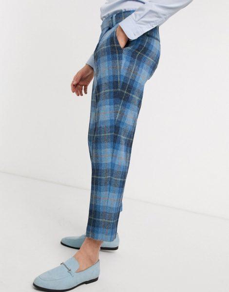 ASOS DESIGN - Schmale, kurz geschnittene, elegante Hose aus Harris-Tweed aus 100% Wolle in Blau kariert