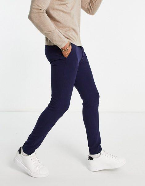 ASOS DESIGN - Sehr enge, elegante Hose in Marine-Marineblau