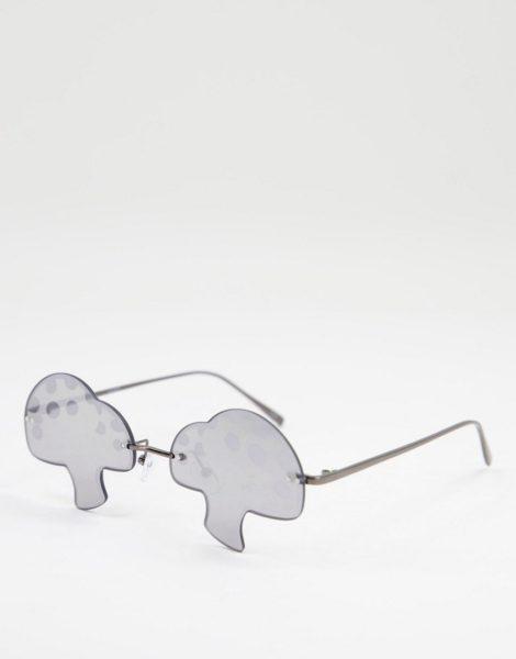 ASOS DESIGN - Sonnenbrille mit grau getönten Gläsern in Pilz-Optik