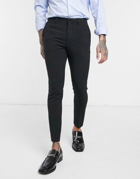 ASOS DESIGN - Superenge, kurz geschnittene, elegante Hose in Schwarz