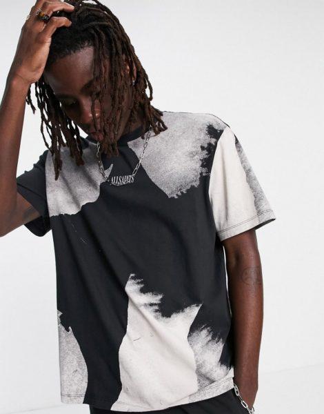 AllSaints - Santana - T-Shirt in Schwarz/Weiß mit Pinselstrichprint