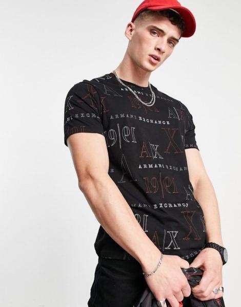 Armani Exchange - Bedrucktes T-Shirt in Schwarz mit Logo