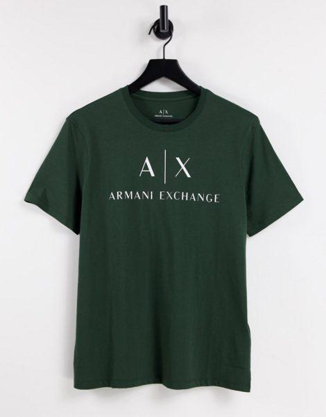 Armani Exchange - T-Shirt in Grün mit Logo-Schriftzug