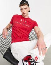 Armani Exchange - T-Shirt in Rot mit Logo-Schriftzug