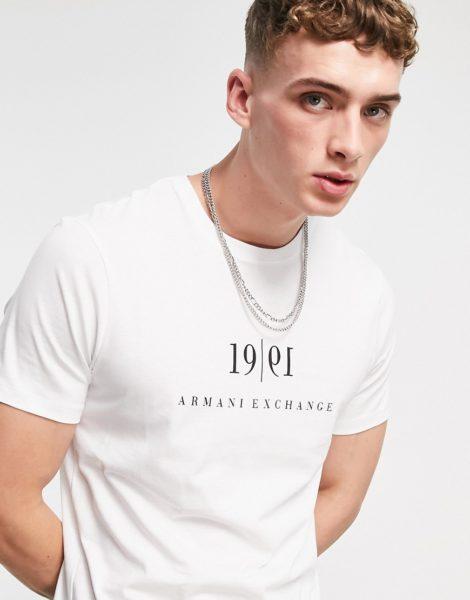 Armani Exchange - T-Shirt in Weiß mit 1991-Logo auf der Brust