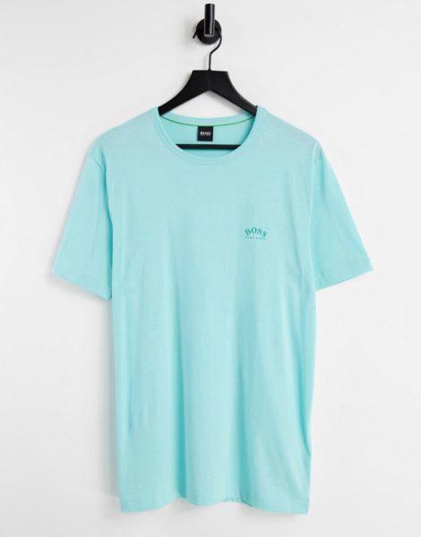 BOSS - Athleisure Tee Curved - T-Shirt mit Logo in Minzgrün