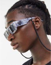 Bershka - Eckige Sonnenbrille in Grau marmoriert