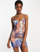 Bershka - Mehrfarbiges Camisole-Kleid aus Netzstoff mit Marmorprint
