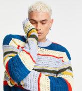 COLLUSION - Gehäkelter Pullover mit Streifenmuster-Mehrfarbig