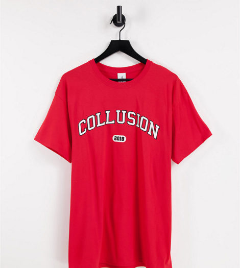 COLLUSION - T-Shirt mit College-Print in Rot