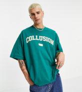 COLLUSION - T-Shirt mit Logo-Print im College-Stil-Grün