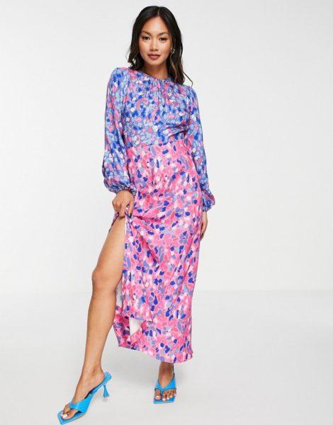 Closet London - Gerafftes Midaxi-Kleid mit leuchtendem Punktemuster-Mehrfarbig