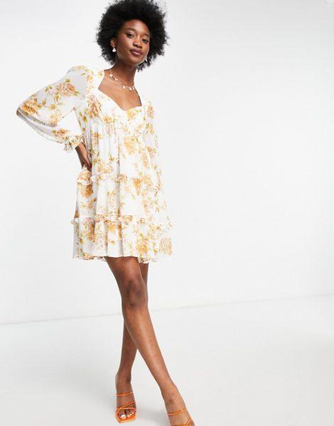 Forever New - Skater-Kleid im Babydoll-Stil mit Rüschen und antikem Blumenmuster in Pfirsich-Mehrfarbig