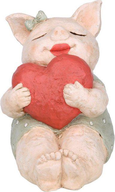 """GILDE Dekofigur """"Schwein Rosalie mit Herz"""" (1 Stück), Dekoobjekt, Tierfigur, Höhe 18,5 cm, Wohnzimmer"""