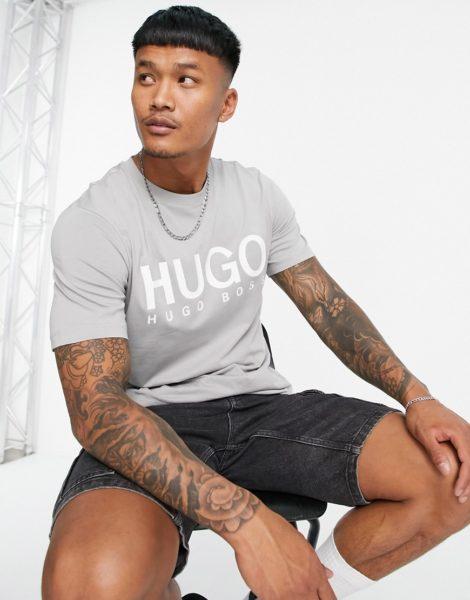 HUGO - Dolive213 - T-Shirt in Grau mit großem Logo
