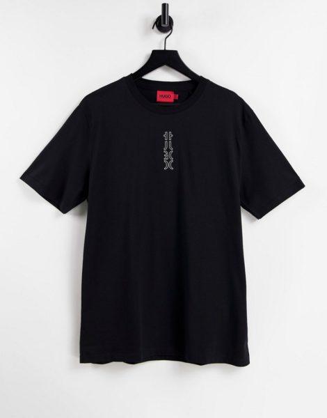 HUGO - Durned213 - T-Shirt in Schwarz mit kleinem, farblich abgestimmtem, vertikalem Logo