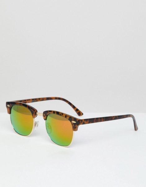 Jack & Jones - Retro-Sonnenbrille in Schildpattoptik mit reflektierenden Gläsern-Braun