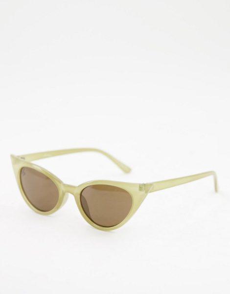 Jeepers Peepers - Cat-Eye-Sonnenbrille für Damen in Grün mit getönten Gläsern