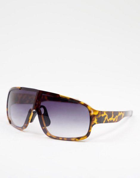 Jeepers Peepers - Visor-Sonnenbrille für Damen in Schwarz mit Gläsern in Lila-Braun
