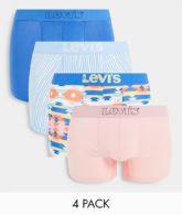 Levi's - 4er-Pack Unterhosen mit durchgehendem Teppichmuster in Blau und Rosa