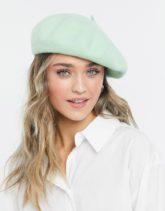 Monki - Brooklyn - Baskenmütze aus Wolle in Grün