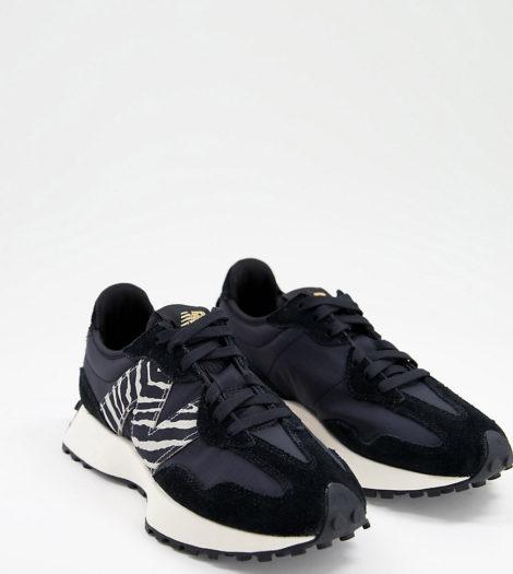 New Balance - 327 - Sneaker in Schwarz und mit Zebramuster, exklusiv bei ASOS