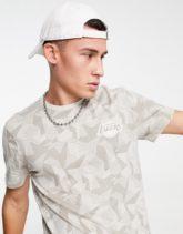 New Era - LA Lakers - T-Shirt in Beige mit geometrischem Print-Neutral