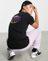 New Era - LA Lakers - T-Shirt in Schwarz mit neonfarbenem Print
