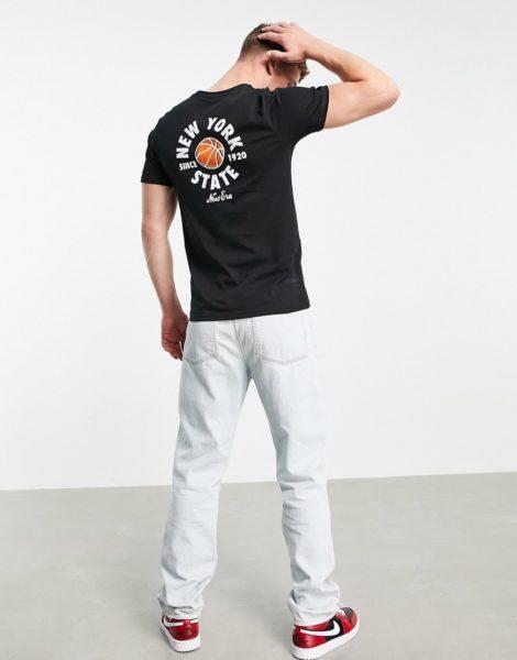 New Era - T-Shirt in Schwarz mit New-York-State-Print am Rücken